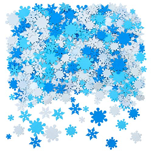 Aneco 600 Pieces Foam Snowflake Stickers Self-Adhesive Snowflake Shape Stickers for DIY Craft Projects, Assorted Color and Sizes