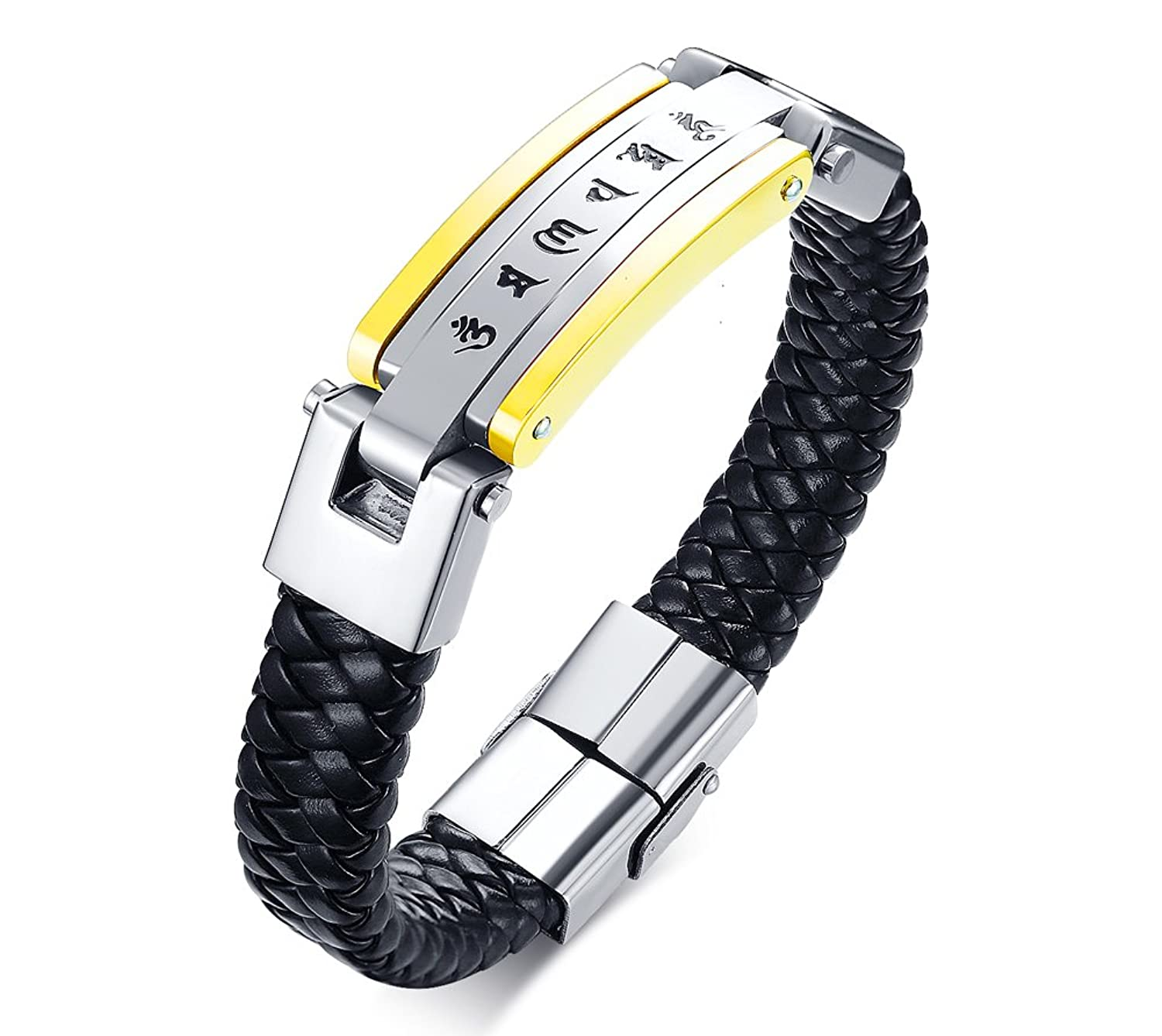 Stainless Steel Buddhist Six Word Mantra Engraved Braid Bracelet PU Leather Wristband for Men,8.8""