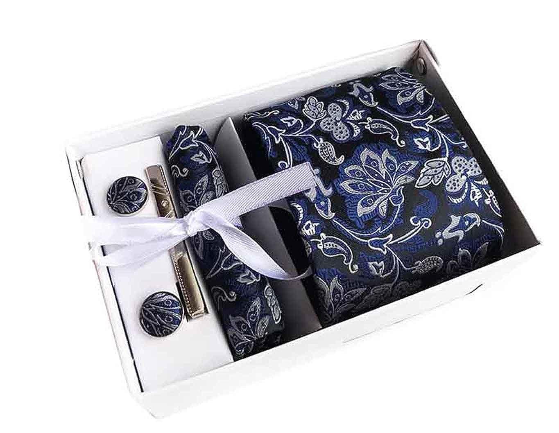 MENDENG Men's Blue Silver Paisley Necktie Tie Bar Pocket Square Cufflinks Set ENG1649