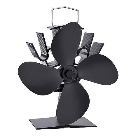 Housweety Ventilador para estufa de leña, gas, carbón, ecológica, color negro,