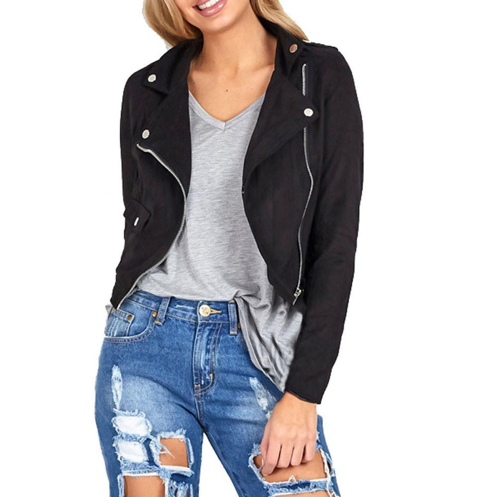 Orangeskycn Womens Winter Slim Biker Motorcycle Short Leather Jacket Zipper Coat Short Tops (M, Black)