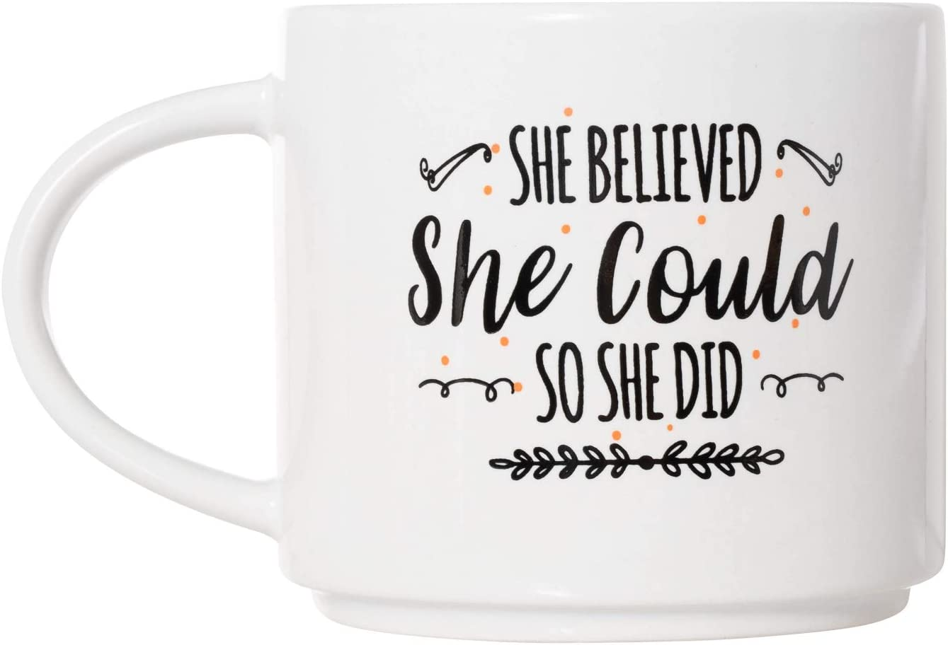 She Believed She Could So She Did Mug - Deluxe Double-Sided Coffee Tea Mug (16 oz style)