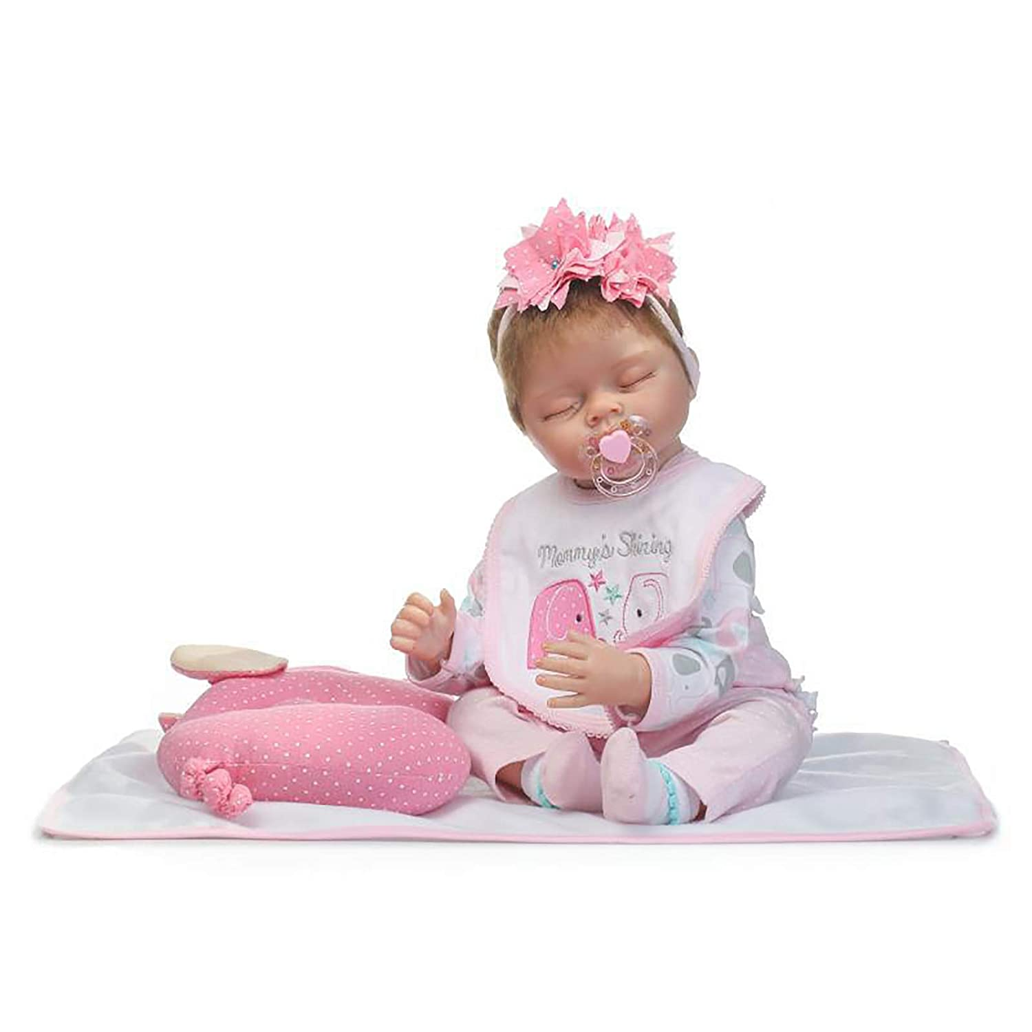 LHKAVE Reborn Baby Dolls 22 Soft Cloth Body Silicone Realistico Neonato Slepping Baby, Really Soft Body Baby Girl Doll,Bambolotti Giocattoli