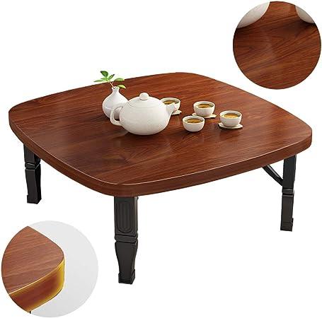 Mesa Sala de Estar práctica pequeña Mesa de Comedor Mesa pequeña de Tatami de Madera Maciza Mesa Cuadrada pequeña Plegable para el hogar Mesas (Color : Brown, Size : 80 * 80 * 35cm): Amazon.es: Hogar