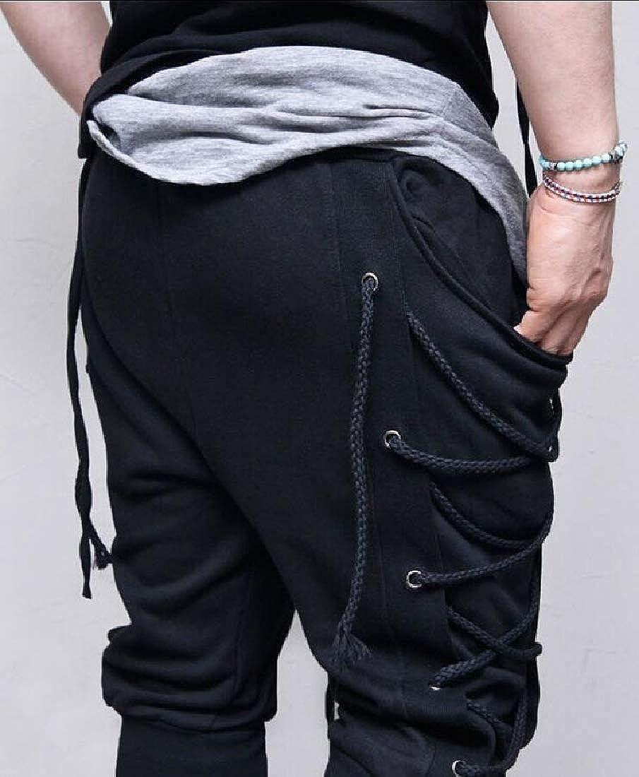 WSPLYSPJY Mens Side Lace Up Trousers Elastic Waist Bandage Joggers Pants