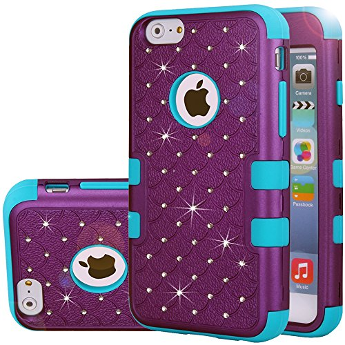 iPhone 6s Case,iPhone 6 Case,Auker Slim Thin Bling Mermaids Scale Dual Layer Shock Absorbing Rugged Hybrid Silicon Rubber Body Protective Tough Bumper Case Cover Skin for iPhone 6 4.7 inch (Purple)