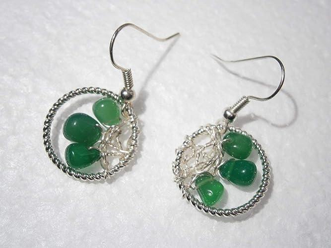 Ohrringe Onyx Tropfen grün handmade Drahtschmuck silberfarben ...