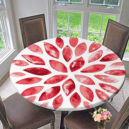 Mikihome Chateau Easy-Care Cloth Tablecloth Style Flower Buds Petals Nature Beauty Blossom Artistic Boho Flourish Print Ruby Red for Home, Party, Wedding 40