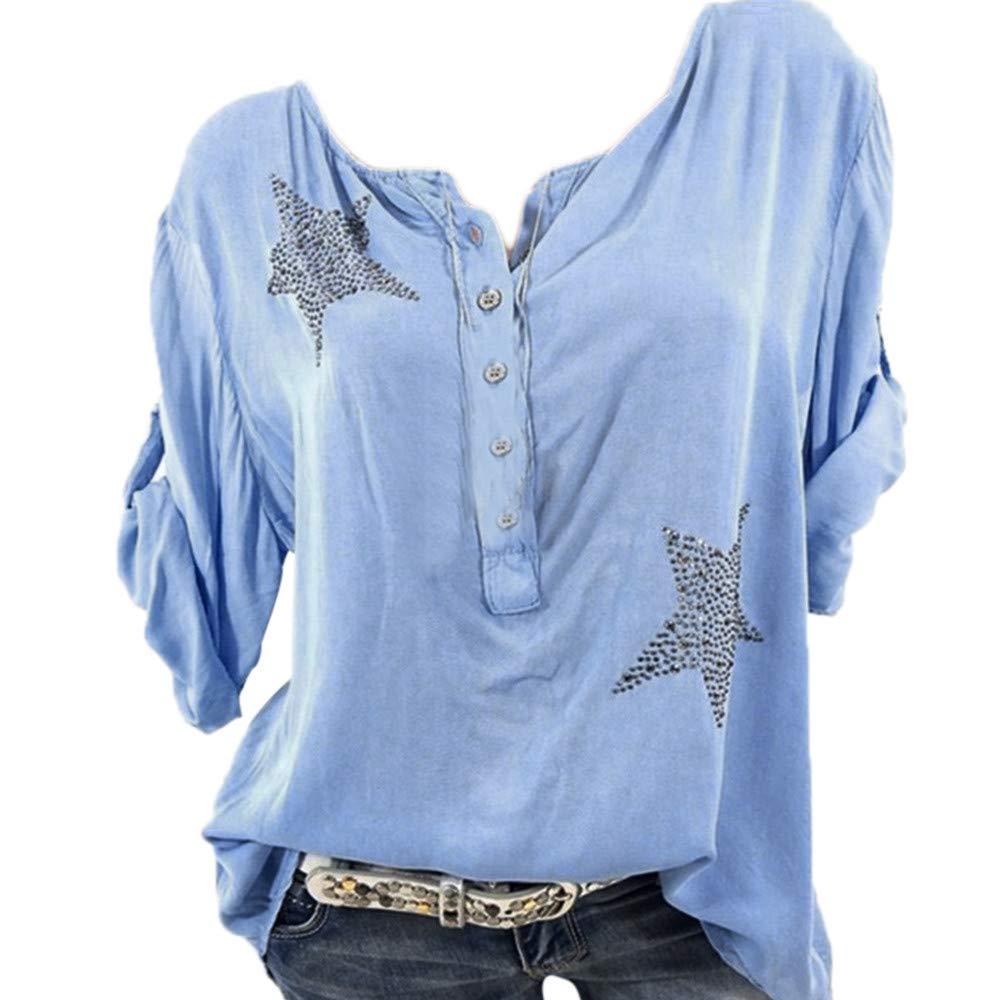 Bluse Damen Herbst Shirt Knopf Fü nfzackigen Stern Hot Drill Tops Oberteil Langarm 3/4 Ä rmel O-Ausschnitt Sweatshirt Langarmshirt Lose Hemd Tunika