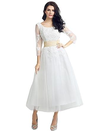 36217774b9cca Vickyben Forme Princesse Longueur au Cheville col Rond Dos Nu Robe de  Soiree Robe de Bal