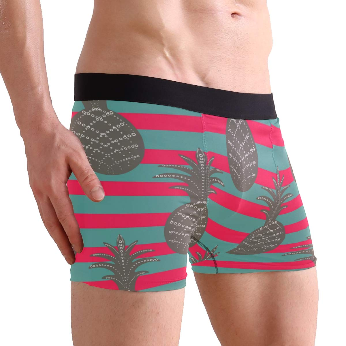 Mens Comfortable Underwear Pineapple Pattern Boxer Briefs for Men