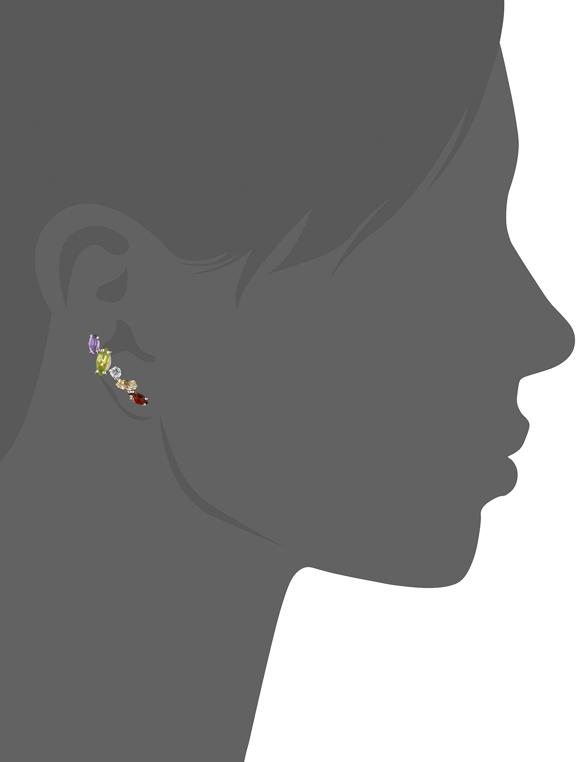 Sterling Silver Multi Gemstone Jacket Earring by Amazon Collection (Image #2)