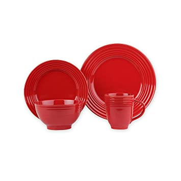Essential Home 16-Piece Solid Color Dinnerware Set - Round (Red)  sc 1 st  Amazon.com : solid color tableware - pezcame.com