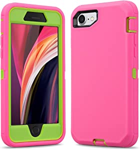 Ballaber for iPhone SE 2020 / iPhone 7 / iPhone 8 Case 3 in 1 Full Body Heavy Duty Defender Shockproof Hard Bumpe Soft Silicone Cover with Screen Protective (Pink/Green)