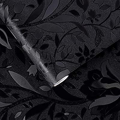 Velimax Blackout Window Film Removeble Static Cling Window Shade Black Window Sticker Glass Cover Darkening Room Heat Control Blossoming Motif