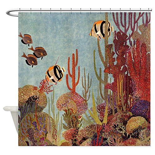 Angel Tropical Fish - CafePress Vintage Tropical Angelfish Decorative Fabric Shower Curtain (69