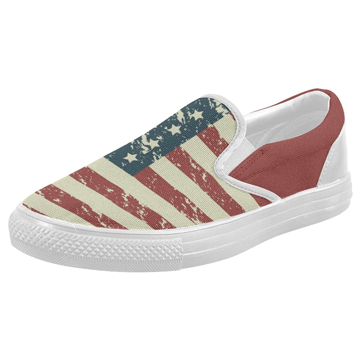 9ad7b7bf980d46 InterestPrint American Flag Casual Slip-on Canvas Women s Fashion Sneakers  Shoes durable service