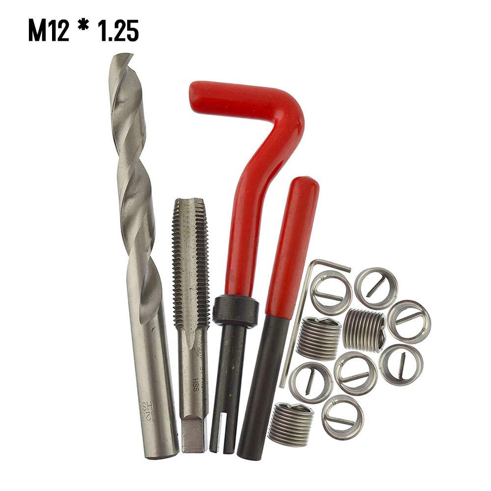 1.5 Festnight 15pcs M/étrique Insert de R/éparation de Fil Kit M5 M6 M8 M10 M12 M14 Helicoil Voiture Pro Bobine Outil M14