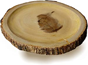 """roro Hand-Crafted Sustainable Serving Platter/Cutting Board with Slight Dip and Bark Edges, 12"""" L"""