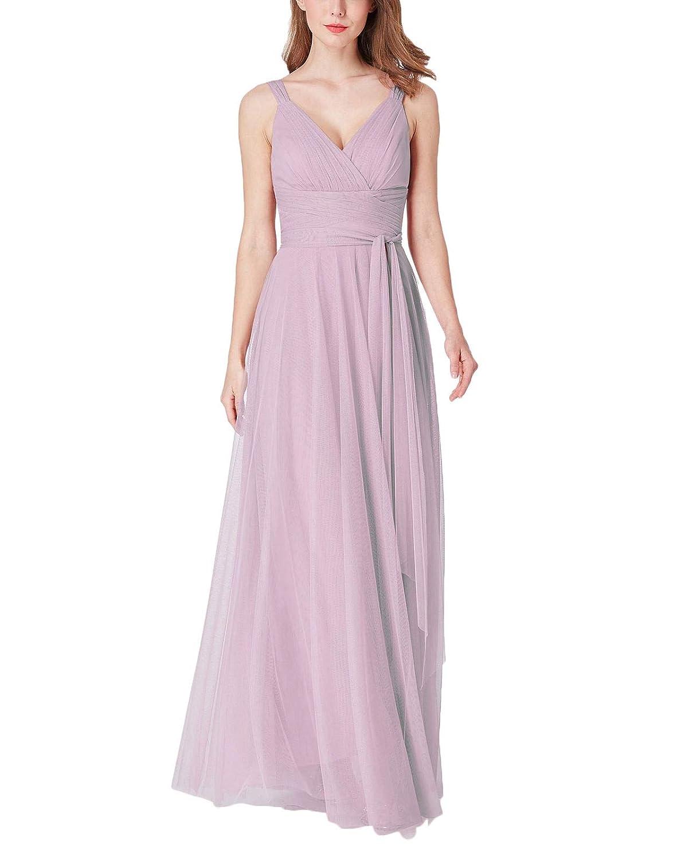 bluesh Yisha Bello Women's Elegant V Neck Bridesmaid Dresses Long Tulle Spaghetti Straps Evening Formal Party Maxi Dress