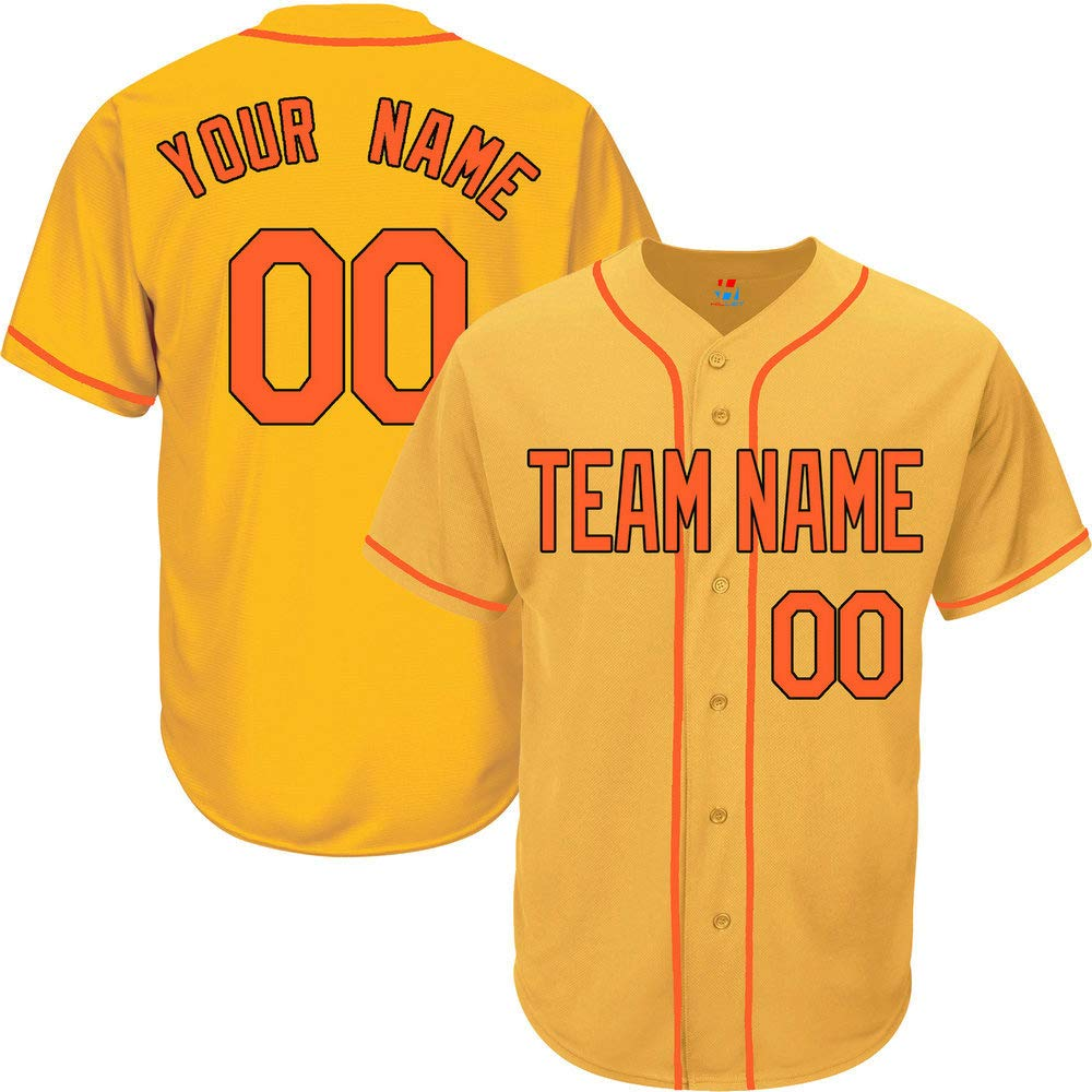Yellow Custom Baseball Jersey for Men Button Down Embroidered Team Player Name & Numbers,Orange-Black Size S
