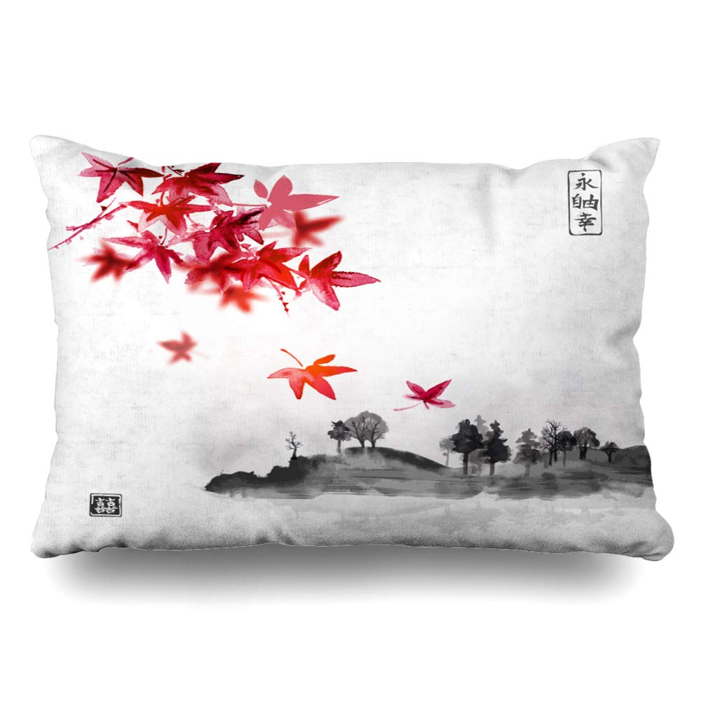 Ahawoso Throw Pillow Cover Queen 20x30 Inches Red Retro Japanese Maple Japan Leaves Mountain Island Trees Tree Big Full Nature Eternity Textures Decorative Pillowcase Home Decor Cushion Pillow Case
