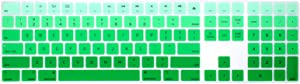 WYGCH Ultra Thin Silicone Full Size Wireless Numeric Keyboard Cover Skin for Mac 2017 Latest Magic Keyboard with Numeric Keypad MQ052LL/A A1843 US Layout,Ombre Green
