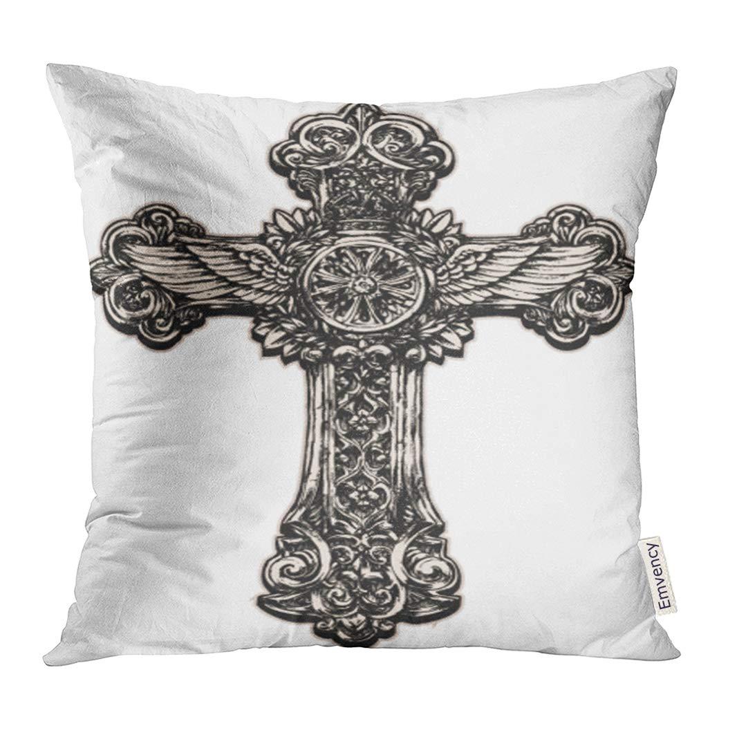 Amazon Com Upoos Throw Pillow Cover Tattoo Detailed Cross