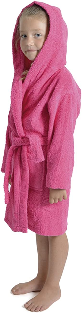 Aumsaa Girls Children Dressing Gown Hooded Towelling Bathrobe 100/% Cotton Terry Towel Bath Robe Soft Towling Lounge Wear 7-13 Years
