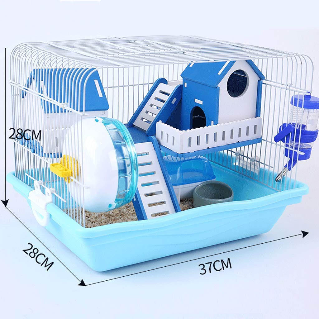 bluee DCSWO Hamster cage Hamster cage Supplies Foundation cage jinxiong nest Villa Hamster Supplies, bluee   37x28x28cm
