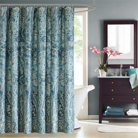 Harbor House Belcourt 200TC Cotton Shower Curtain - Blue