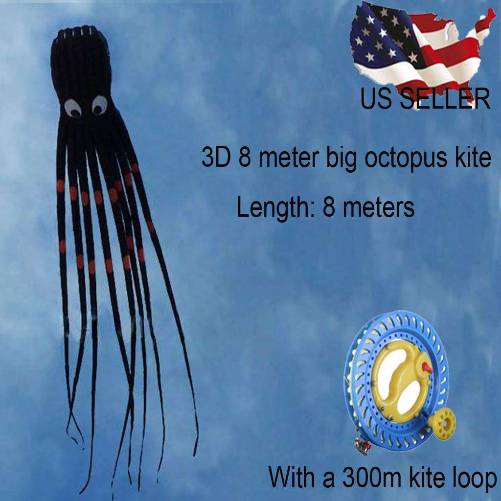 8M Large Octopus Paul Parafoil Kite 3D Black with Wire Loop 300M Handle & String, Beach Park Outdoor Fun Kite for Kids and Adults (8M, Black)