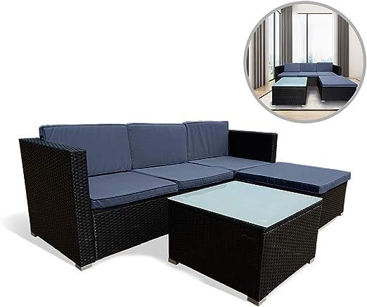 Tabouret en poly rotin meuble balcon terrasse jardin résistant intempéries noir