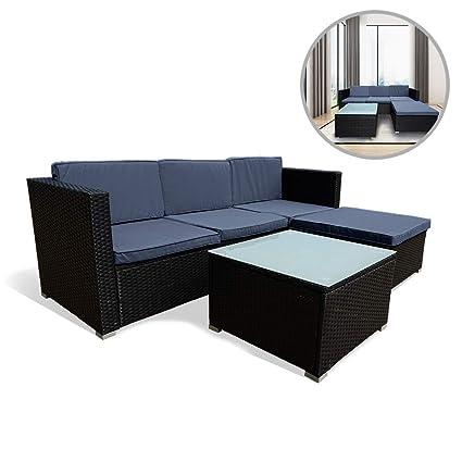 Uisebrt Gartenmöbel Poly Rattan Balkonmöbel Lounge Set Mit Sofa Eckstuhlhockertisch Und Anthrazit Sitzkissen