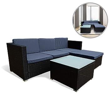 Amazonde Uisebrt Gartenmöbel Poly Rattan Balkonmöbel Lounge Set