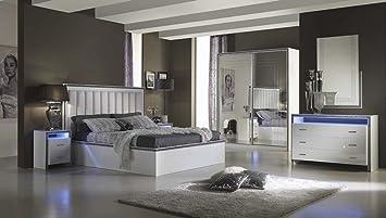 Schlafzimmer gamma weiss hochglanz mit led modern stauraum bett