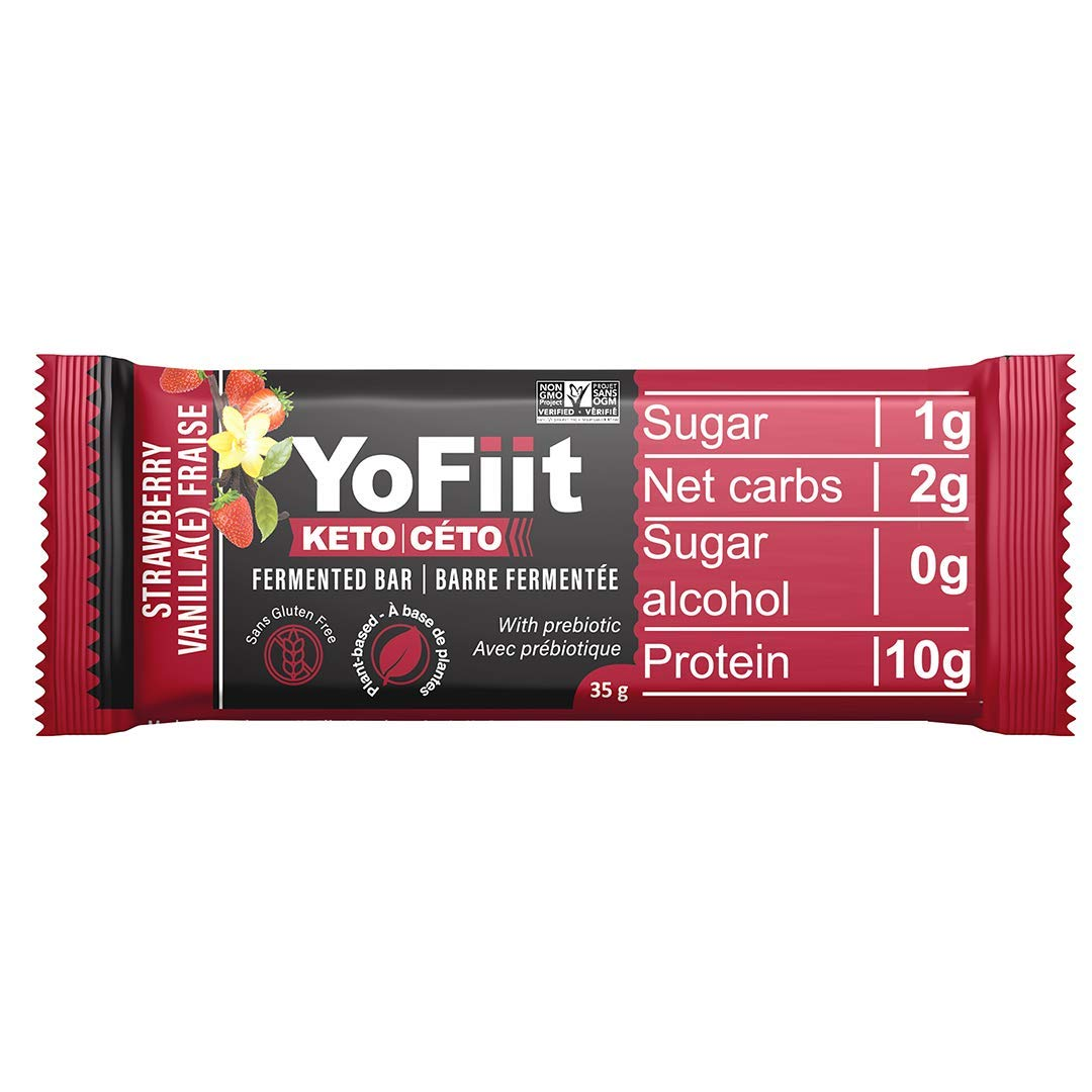 Keto Bars For Low Carb Diet Fans. 2g of Net Carbs. Gluten & Dairy Free Snacks w/ Plant Based Protein. Strawberry-Vanilla Flavor (12 pack)