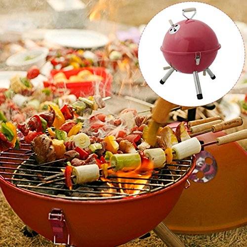 Safstar Mini BBQ Stove Barbecue Oven Charcoal Grill Picnic Cookware Patio Camping (Red)