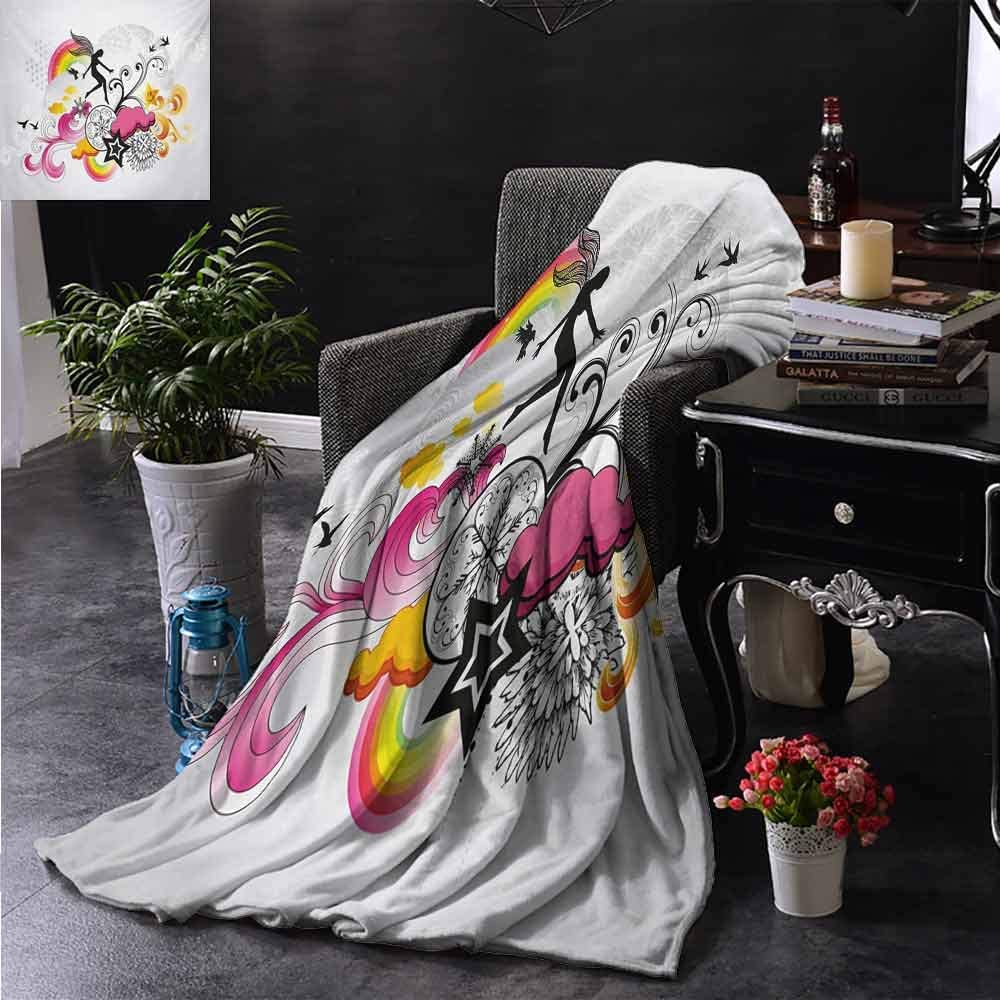 PCNBDJC Multipurpose Blanket Modern Floral Theme Swirl Design Fairy Birds Rainbow Snowflake and Clouds Art Daily use W60 x L91 Inch Dust Black and Pink