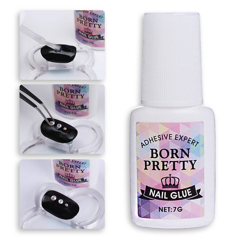 Born Pretty 5 Bottles Nail Art Glue Fast-dry Decoration Adhesive Glue Manicure Stick Tool for Sticker Rhinestone