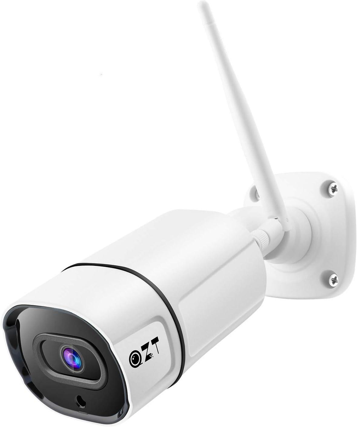 QZT - Cámara de vigilancia para 3 MP con visión nocturna, IP66, impermeable, detección de movimiento, audio bidireccional, alarma deterrante - iOS, Android
