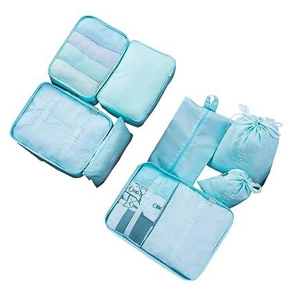 Cubos de Embalaje para Viajes – 8 Juegos de Bolsas organizadoras de Equipaje Bolsas de Almacenamiento Maleta Bolsas de compresión, Azul-XL (Azul) - ...