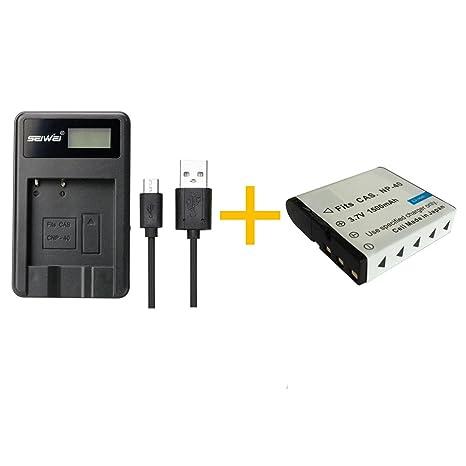 1 Piezas 1500 mAh NP-40 NP40 Batería con Cargador de Batería para Casio Z200 Z1050 Z750 Z1080 Z700 (1 pcs Battery with Charger)