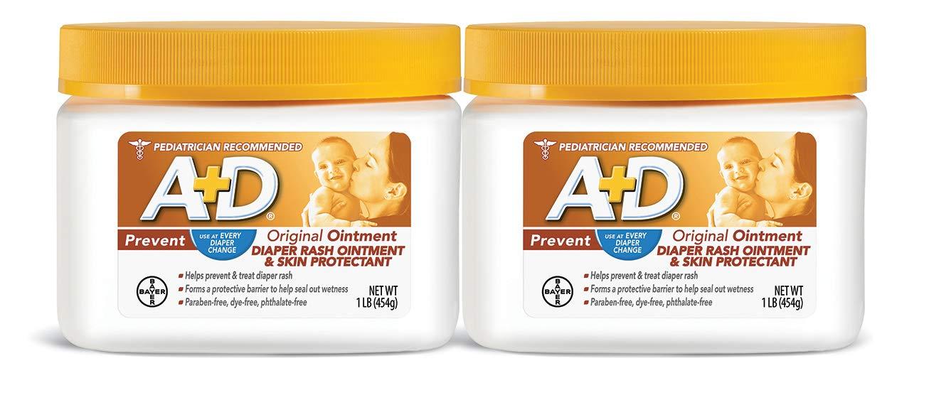 A+D Original Diaper Rash Ointment, 1 Pound Jar Pack of 2 by A+D