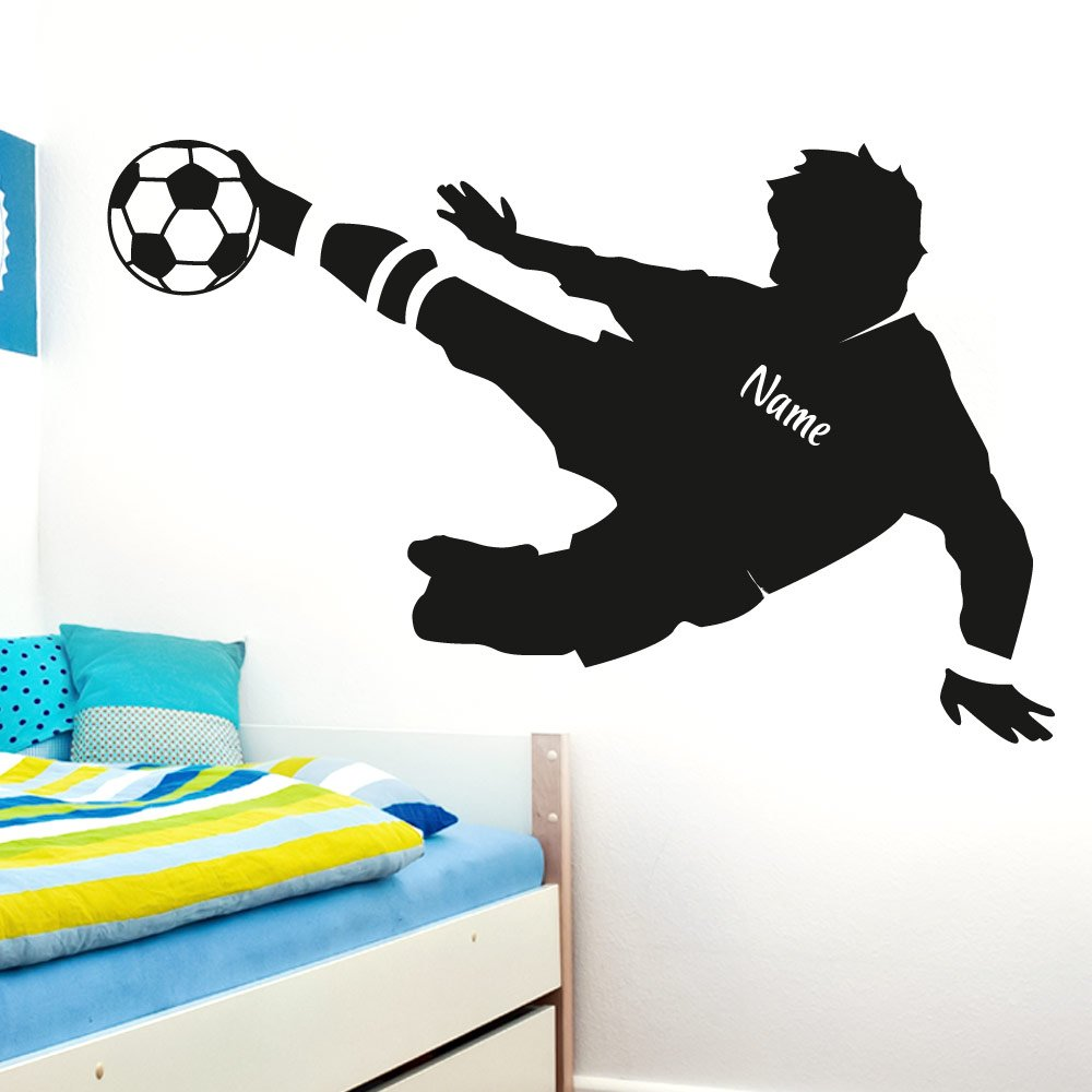 Wandtattoo-Macher Adesivo da parete Raviolo E038 adesivo da parete calciatore personalizzato con nome adesivo da parete, nero, (BxH) 58 x 37 cm