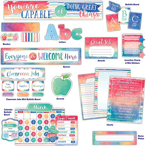 Watercolor Collection Classroom Environment by Teacher Created Resources