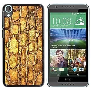 TECHCASE**Cubierta de la caja de protección la piel dura para el ** HTC Desire 820 ** Gold Pattern Texture Material Rocks Stone
