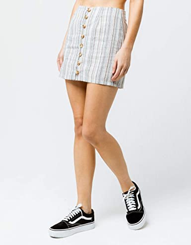 da5ddf02a2 Sky and Sparrow Stripe Button Front Linen Mini Skirt, Multi, 11 at Amazon  Women's Clothing store: