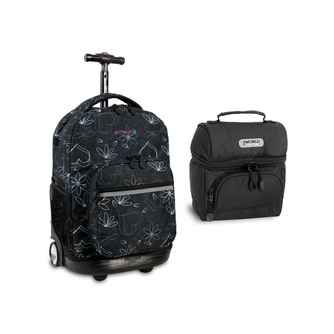 J World Sunrise Roller Backpack Back Pack and Corey Lunch Bag Bundle Set, Love Black w/Black