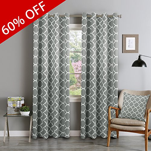 FlamingoP Light Blocking Moroccan Insulated Blackout Drapes Printed Window Curtains for Living Room, Grommet Top, Set of Two Panels, each 84 by 52- Dove Gray